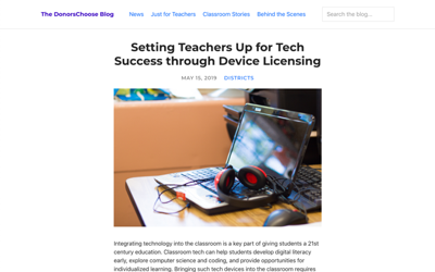 The DonorsChoose Blog: Setting Teachers Up for Tech Success through Device Licensing